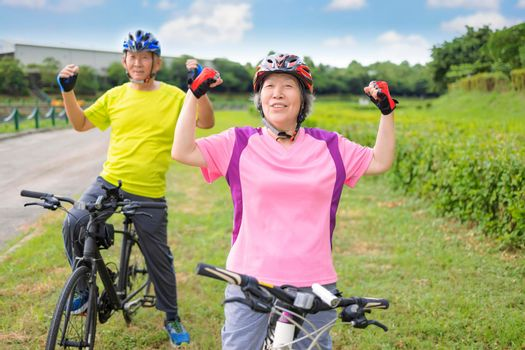 Happy healthy senior couple exercising with bicycles