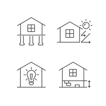 Residential building linear icons set