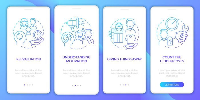 Challenging consumerism gradient blue onboarding mobile app page screen
