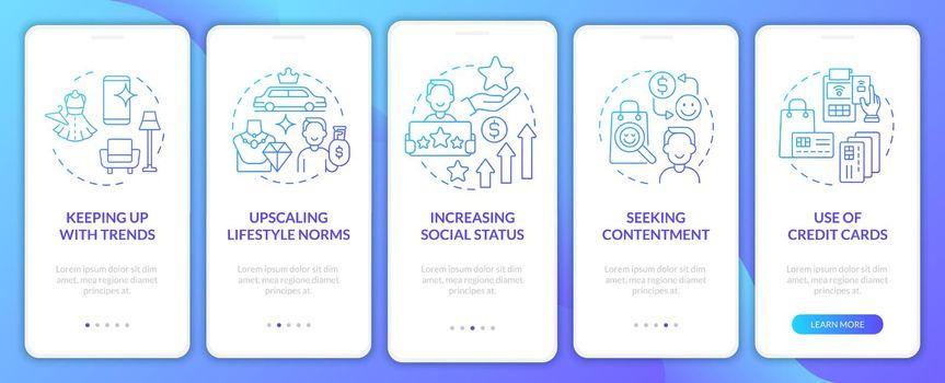 Consumerism motivation gradient blue onboarding mobile app page screen