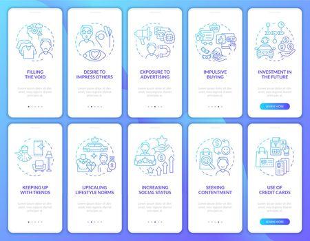 Consumerism gradient blue onboarding mobile app page screen set