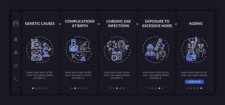 Hearing disorder aspects onboarding vector template