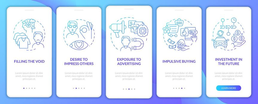 Reasons for consumerism gradient blue onboarding mobile app page screen
