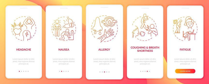 Air pollution illness signs onboarding mobile app page screen with concepts
