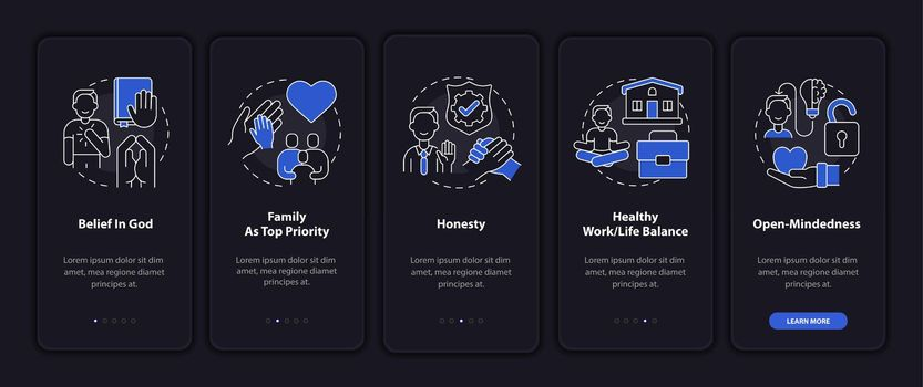 Individual principles onboarding mobile app page screen with concepts