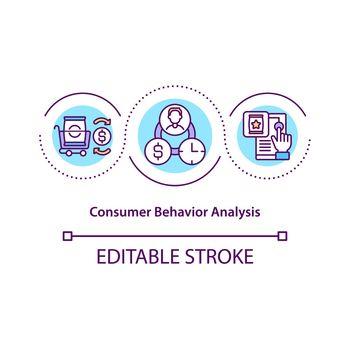 Consumer behavior analysis concept icon