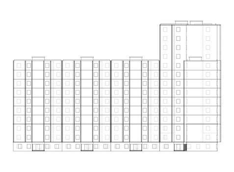 Vector multi-storey residential building