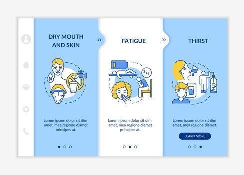 Dehydration symptoms onboarding vector template