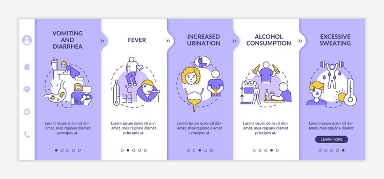 Dehydration causes onboarding vector template