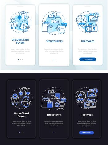 Consumer types onboarding mobile app page screen with concepts