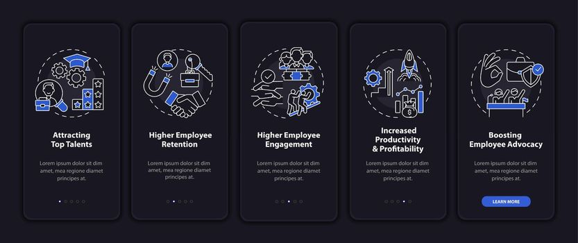 Corporate philosophy onboarding mobile app page screen with concepts