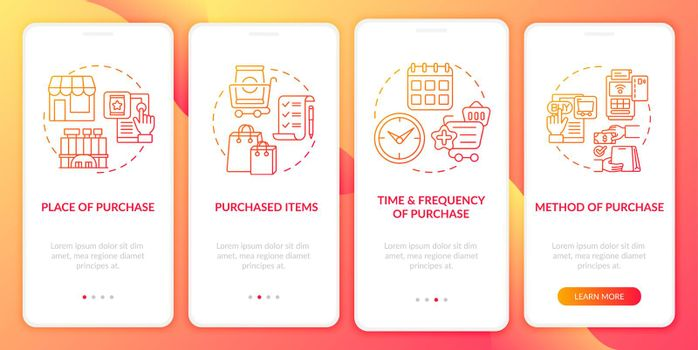 Consumer behavior patterns onboarding mobile app page screen with concepts