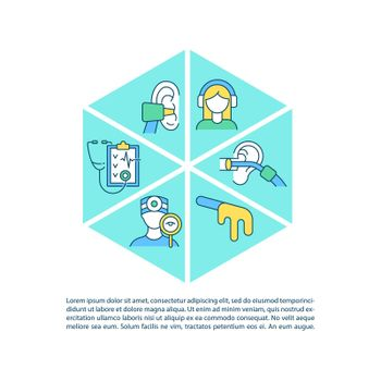 Clinical ear examination concept line icons with text