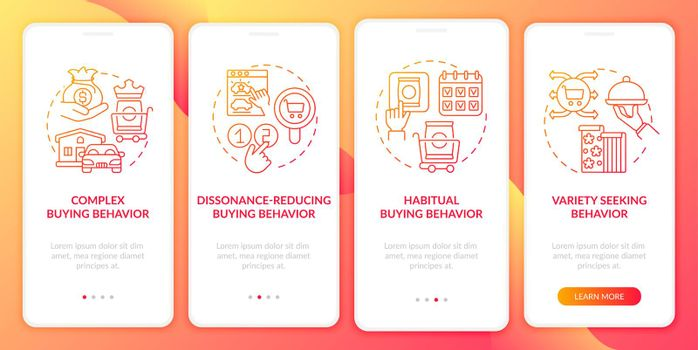 Consumer behaviour kinds onboarding mobile app page screen with concepts