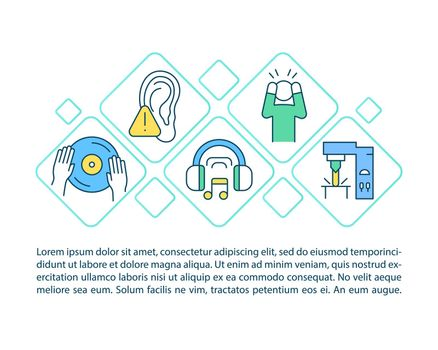 Hearing protection concept line icons with text