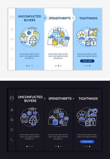 Shoppers types onboarding vector template
