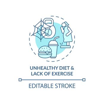 Unhealthy diet and lack of exercise blue concept icon