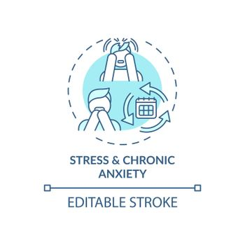 Stress and chronic anxiety blue concept icon