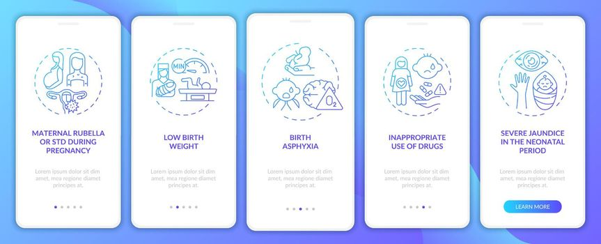 Hereditary hearing disability onboarding mobile app page screen with concepts