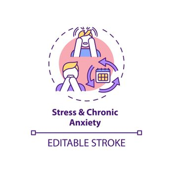 Stress and chronic anxiety concept icon