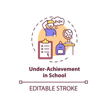 Under achievement at school concept icon