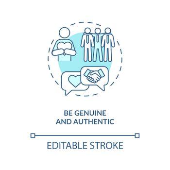 Be genuine and authentic blue concept icon
