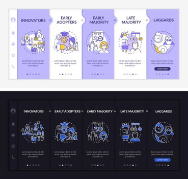 Product approving onboarding vector template