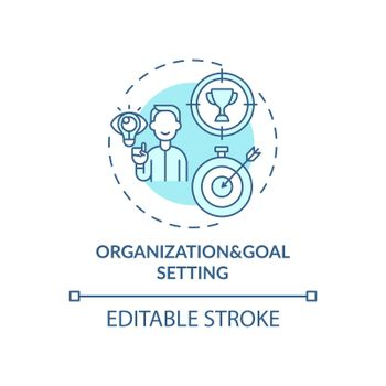 Organization and goal setting blue concept icon