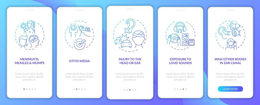 Acquired hearing disability onboarding mobile app page screen with concepts