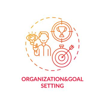 Organization and goal setting red gradient concept icon