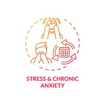 Stress and chronic anxiety red gradient concept icon