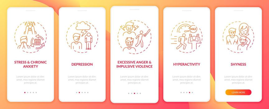 Psychology of self-control red onboarding mobile app page screen with concepts