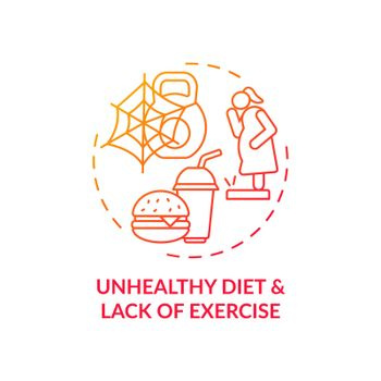 Unhealthy diet and lack of exercise red gradient concept icon