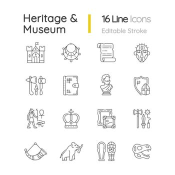 Heritage and museum linear icons set