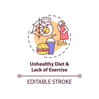 Unhealthy diet and lack of exercise concept icon