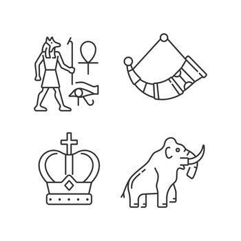 Ancestors heritage linear icons set