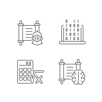 Humanities and applied subjects linear icons set