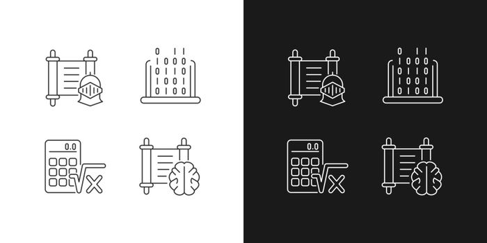 Humanities and applied subjects linear icons set for dark and light mode