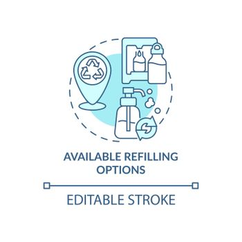 Available refilling options concept icon