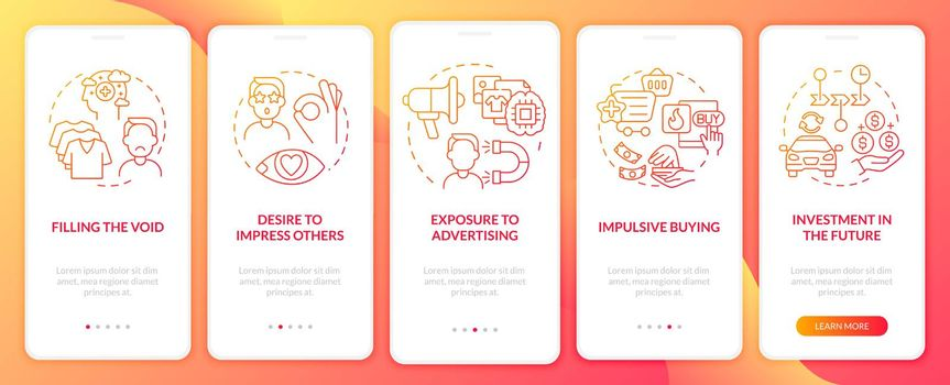 Reasons for consumerism red gradient onboarding mobile app page screen