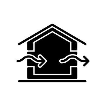 Ventilation system black glyph icon