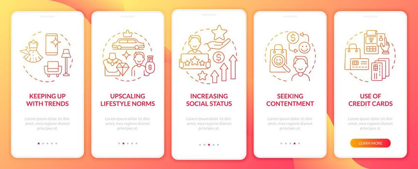 Consumerism motivation red gradient onboarding mobile app page screen