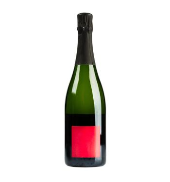 Champagne bottle with red lable
