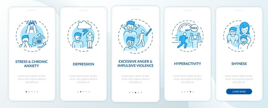 Psychology of self-control blue onboarding mobile app page screen with concepts