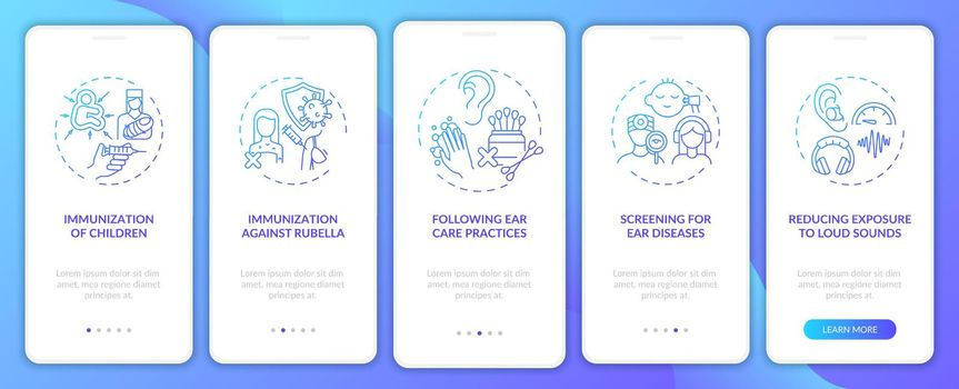 Hearing disability precaution onboarding mobile app page screen with concepts