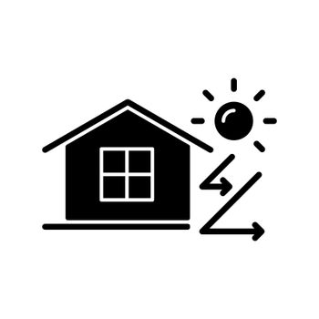 Heat insulation black glyph icon
