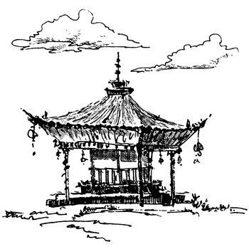 Hand-drawn sketch of pagoda