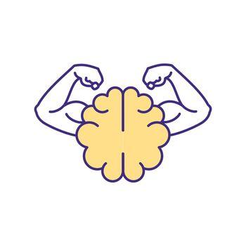 Mental strength RGB color icon