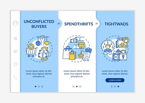 Customers types onboarding vector template