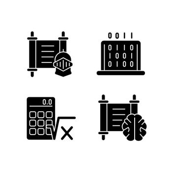 Humanities and applied subjects black glyph icons set on white space